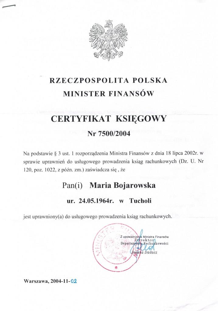 Certyfikat Biura Rachunkowego